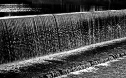 Water Falls. Dam in black and white Stock Images