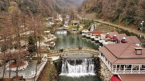 Water falls. Cold day in Turkey masukeya there is aresturant and caffes between mountain and forest Stock Images