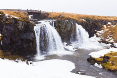 Water falls in deep Iceland national park on the raining day Royalty Free Stock Photo
