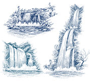 Water falls drawing Royalty Free Stock Image