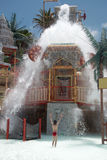 Water falls of the lost city attraction. In the water park. Spain, Tenerife Stock Image