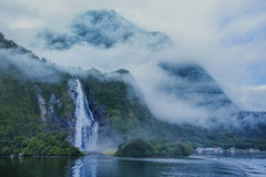 Water falls in milford sound important traveling destination in Royalty Free Stock Photo