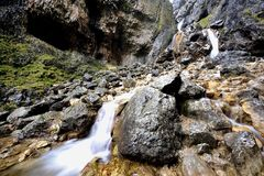 Gordale Scar. Water Falls of the Scar Stock Photos