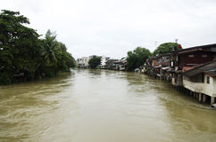 Water fast and severe in chanthaburi river because flash flood a Royalty Free Stock Photography