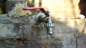 Water faucet. Camp water tap.  stock video footage