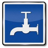 Water faucet and drinking water. Ship sign water faucet and drinking water Royalty Free Stock Image