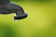 Water Faucet Dripping with a Leak. Water faucet leaking with dripping drops royalty free stock image