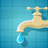 Water faucet with a drop of clean water. Stock cartoon il Stock Photo