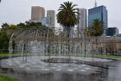 Water feature. Against backdrop of CBD in Melbourne, Australia stock photos