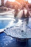 Water feature with pool stock photo