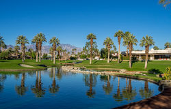 Water features at a golf course at the JW Marriott Desert Springs Royalty Free Stock Image