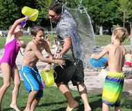 Water Fight, Children, Water, Play Royalty Free Stock Images