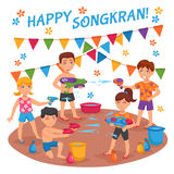 Water Fights In Thailand Illustration Stock Image