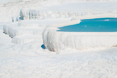 Water-filled basins in Pamukkale. In Turkey Royalty Free Stock Images