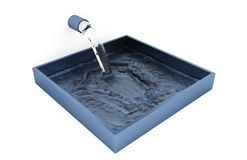 Water filling up of a Grey Blue Square Bowl Stock Photo