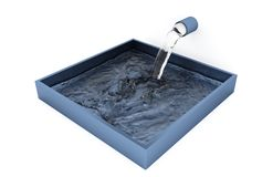 Water filling up with Small Splash of a Grey Blue Square Bowl. With a White Background vector illustration