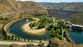 Aerial view of a Hydroelectric Dam on the Boise River in Idaho s. Water fills a swimming hole at the base of a Dam on the Boise River stock photography