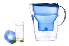 Water filter and a glass Stock Photos