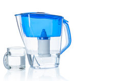 Water filter pitcher and glass Stock Photos