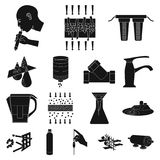 Water filtration system black icons in set collection for design. Cleaning equipment vector symbol stock web. Water filtration system black icons in set Stock Photo