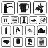 Water filtration system black icons in set collection for design. Cleaning equipment vector symbol stock web. Water filtration system black icons in set Royalty Free Stock Photography