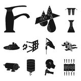 Water filtration system black icons in set collection for design. Cleaning equipment vector symbol stock web. Water filtration system black icons in set Stock Image