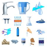 Water filtration system cartoon icons in set collection for design. Cleaning equipment vector symbol stock web. Water filtration system cartoon icons in set Royalty Free Stock Images