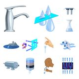 Water filtration system cartoon icons in set collection for design. Cleaning equipment vector symbol stock web. Water filtration system cartoon icons in set Royalty Free Stock Image
