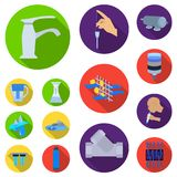 Water filtration system flat icons in set collection for design. Cleaning equipment vector symbol stock web illustration. Water filtration system flat icons in Royalty Free Stock Photo