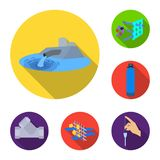 Water filtration system flat icons in set collection for design. Cleaning equipment vector symbol stock web illustration. Water filtration system flat icons in Royalty Free Stock Image