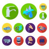 Water filtration system flat icons in set collection for design. Cleaning equipment vector symbol stock web illustration. Water filtration system flat icons in Stock Photos