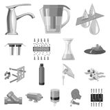 Water filtration system monochrome icons in set collection for design. Cleaning equipment vector symbol stock web. Water filtration system monochrome icons in Royalty Free Stock Photo