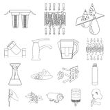 Water filtration system outline icons in set collection. For design. Cleaning equipment vector symbol stock  illustration Royalty Free Stock Photos