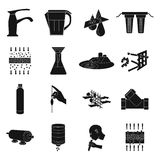 Water filtration system set icons in black style. Big collection of water filtration system vector symbol stock Royalty Free Stock Photos