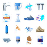Water filtration system set icons in cartoon style. Big collection of water filtration system vector symbol stock Royalty Free Stock Photography