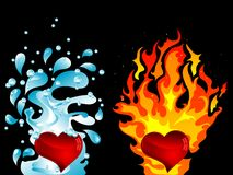 Water and fire. Red hearts with water splash and the fire Stock Image