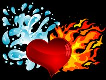 Water and fire. Red heart with water splash and the fire Stock Image