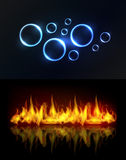Water and fire background. Aqua and fire. Water drops or bubbles and fire flame background with reflection Stock Photography