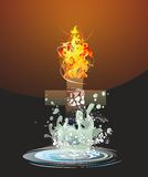 Between water and fire,. Composition of the cross fire and water Stock Photos
