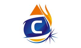 Water Fire Flame Gas Oil Initial C. Logo vector illustration, can be used for any purpose Stock Images