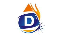 Water Fire Flame Gas Oil Initial D. Logo vector illustration, can be used for any purpose Stock Photos