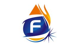 Water Fire Flame Gas Oil Initial F. Logo vector illustration, can be used for any purpose Royalty Free Stock Images