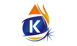 Water Fire Flame Gas Oil Initial K. Logo vector illustration, can be used for any purpose Stock Image