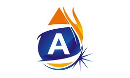 Water Fire Flame Gas Oil Initial A. Logo vector illustration, can be used for any purpose Stock Image