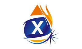 Water Fire Flame Gas Oil Initial X. Logo vector illustration, can be used for any purpose Stock Photo