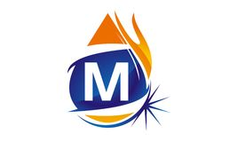 Water Fire Flame Gas Oil Initial M. Logo vector illustration, can be used for any purpose Stock Image