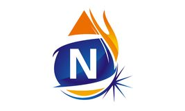 Water Fire Flame Gas Oil Initial N. Logo vector illustration, can be used for any purpose Royalty Free Stock Photo