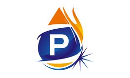 Water Fire Flame Gas Oil Initial P. Logo vector illustration, can be used for any purpose Royalty Free Stock Image