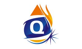 Water Fire Flame Gas Oil Initial Q. Logo vector illustration, can be used for any purpose Royalty Free Stock Images