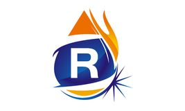 Water Fire Flame Gas Oil Initial R. Logo vector illustration, can be used for any purpose Royalty Free Stock Image